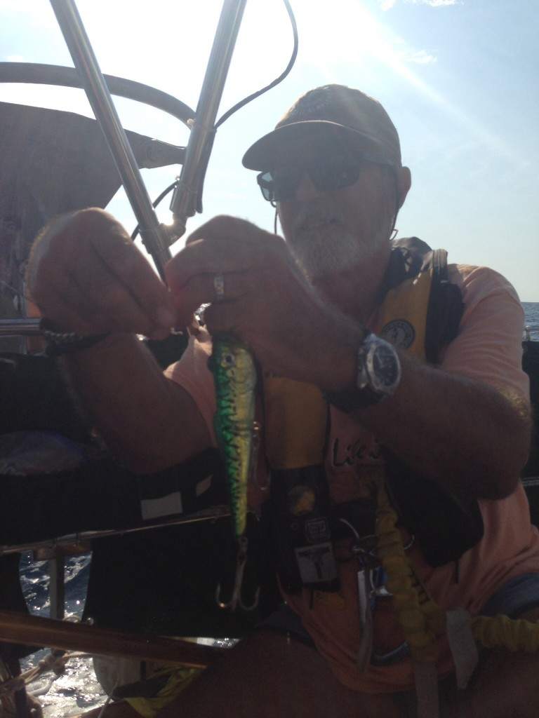 Rick preparing his super lure to catch the big one.  We fished all day.