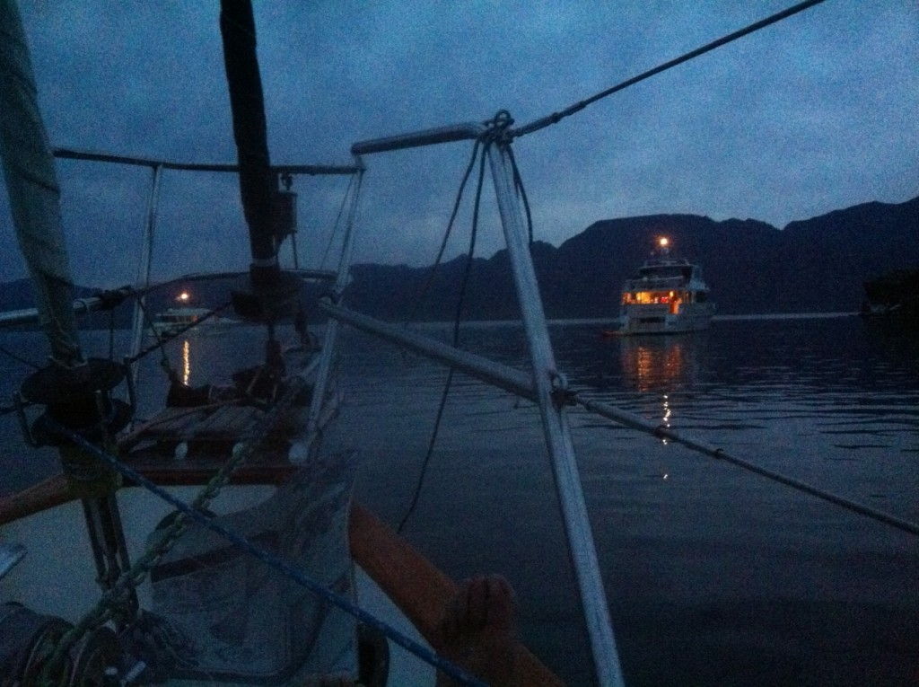 Sunset off the bow at Isla Carmen