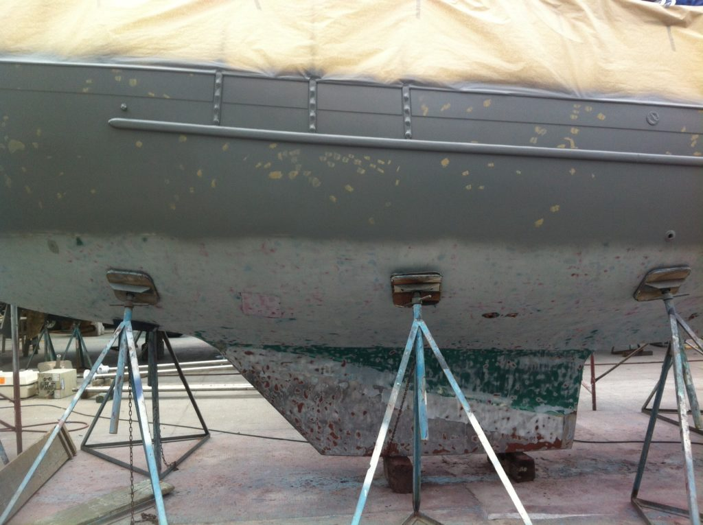 Cool Change primed for new bottom paint (ablative) and new hull paint