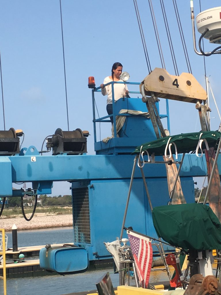 The chief boat lift operator at Fonatur, a government run boatyard, in Mazatlan is a woman