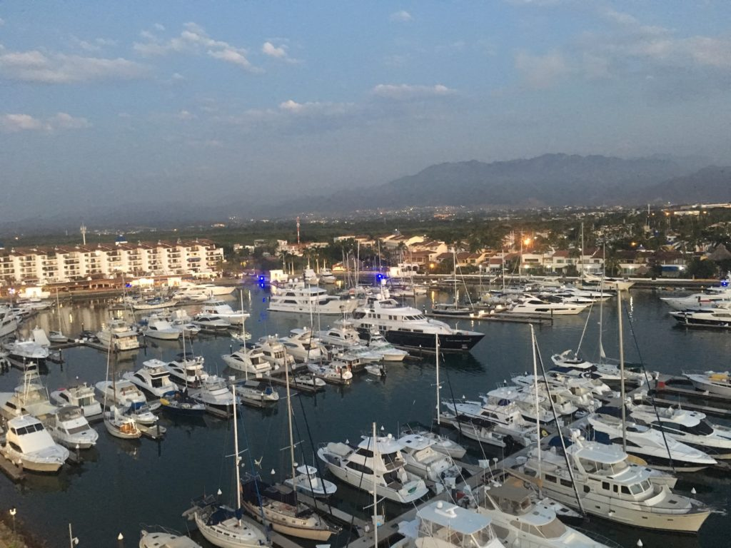 A view of part of Marina Vallarta from the bar at the top of the decorative lighthouse building in the middle of the marina.