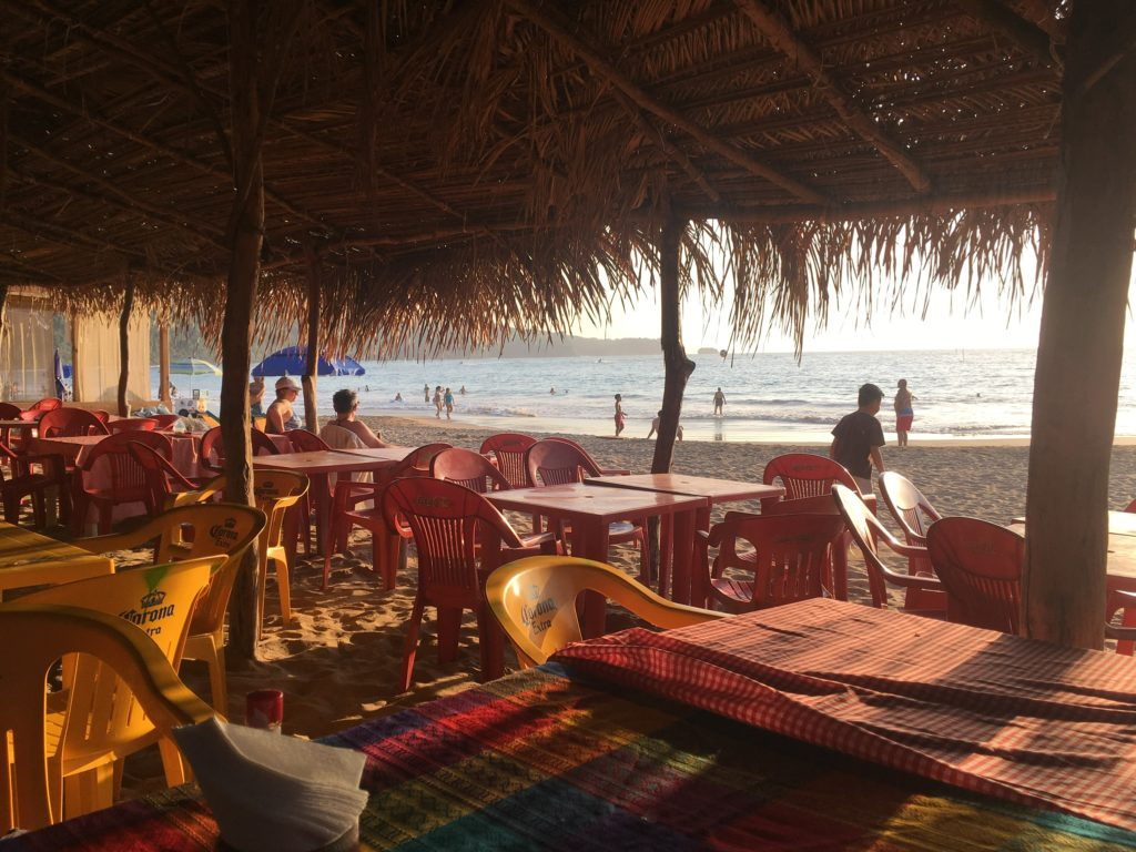 The view from the palapa restaurant in Chacala where we had a few beers