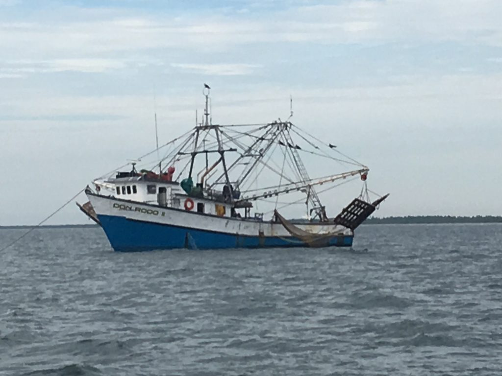 A shrimp boat - it doesn't look so menacing during the day!