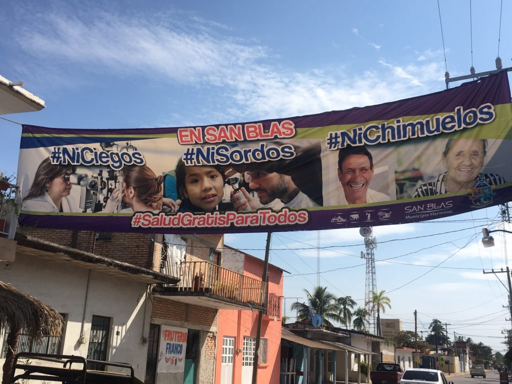 Free health care for all, a sign advertising public health care in the town of San Blas